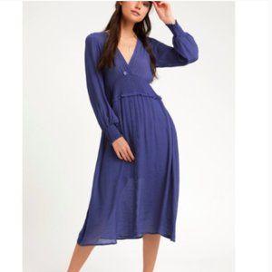 Lulu's Go For It Royal Blue Long Sleeve Midi Dress
